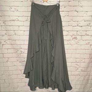 NWT Reborn Gray High Waist Palazzo Pant/Skirt Sz L